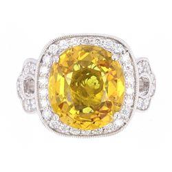 RARE Orange Yellow Sapphire & Diamond Ring