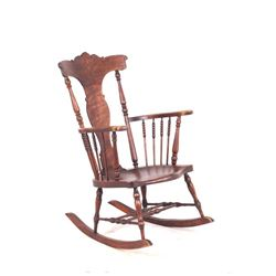 Early Turned Spindle Wooden Rocking Chair