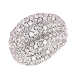 Modern 2.86ct Diamond Pave Set Wave 18K Ring