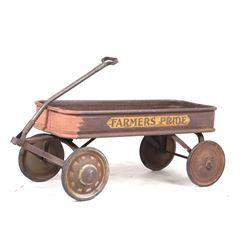 Mid 1900's Red Farmers Pride Metal Wagon