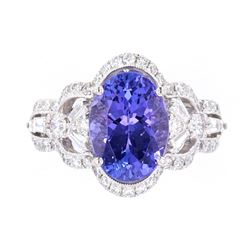 AAA+ Tanzanite & VS1 Diamond Platinum Ring