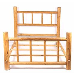 Rustic Pine Log Queen Size Bed Frame
