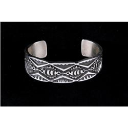 Navajo James Tahe Sterling Silver Cast Bracelet