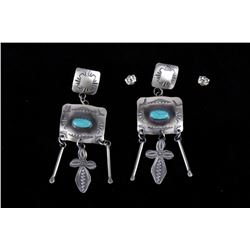 Navajo Yazzie Royston Turquoise & Silver Earrings