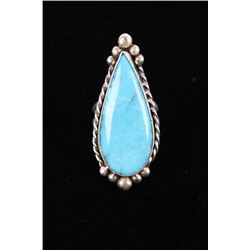 Navajo M. House Kingman Turquoise Sterling Ring
