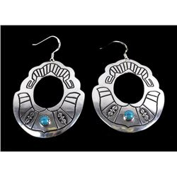 Navajo T&R Singer Sterling & Turquoise Earrings