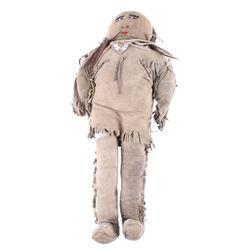 Navajo Beaded Hide & Fabric Child's Doll 19th C.