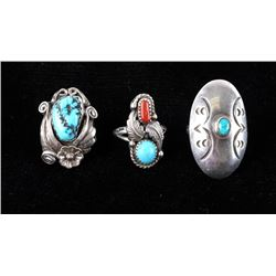 Navajo Old Pawn Sterling Silver & Turquoise Rings