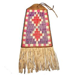 Crow Fully Quilled Hide Dispatch Bag c. 1890