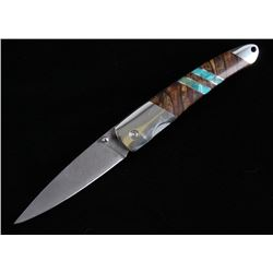 Spalted Beech Wood & Turquoise Damascus Knife
