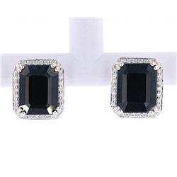 Dark Blue Sapphire & Diamond Stud 14K Earrings
