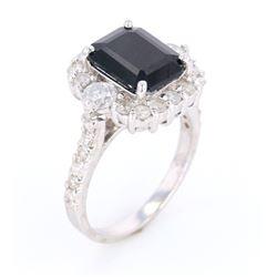 Dark Blue Sapphire & Diamond 14K Ring