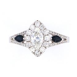 Vintage Estate Marquise Diamond & Sapphire Ring