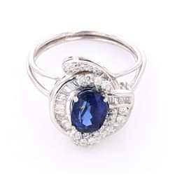 Vintage Estate Blue Sapphire & Diamond PT950 Ring