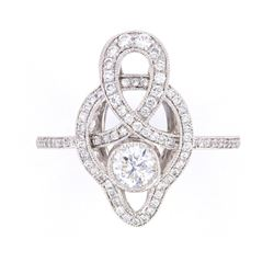 Antique Style Delicate Diamond Platinum Ring