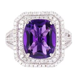 Amethyst & Diamond Classic 14K Gold Ring
