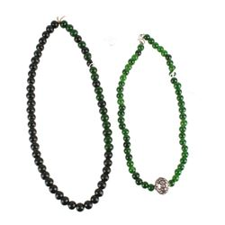 Chinese Peking Glass & Jade Bead Necklaces