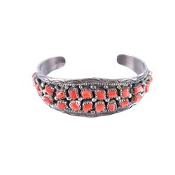 Navajo Sterling Silver & Red Coral Bracelet Signed