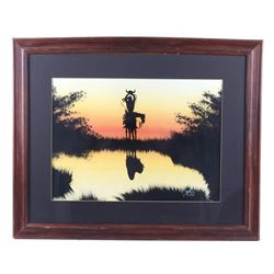 Original Signed Indian Brave Reflection Painting