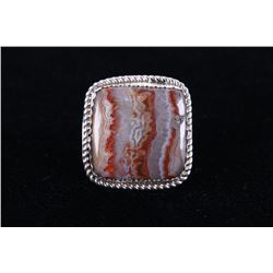 Navajo Crazy Lace Agate Ring by Charlie Chee Bowie