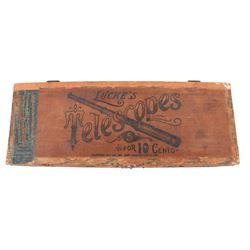 Wooden Lucke's Telescope Cigar Box 1896