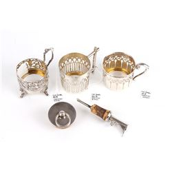 German Silver Cup Holders & Bottle Stoppers