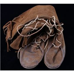 Leather Trappers Moccasin High Top Boots
