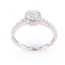 Graceful Halo Bezel Diamond 18K Gold Ring