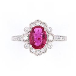 Extremely Rare Unheated Natural Ruby Diamond Ring