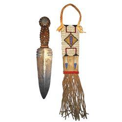Sioux Dag Knife (Marked IS) W/ Beaded Sheath