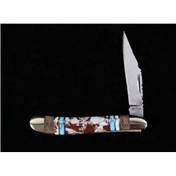 Navajo White Buffalo & Turquoise Buffalo Knife