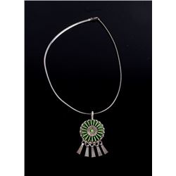 Navajo Sterling Petite Point Gaspite Necklace