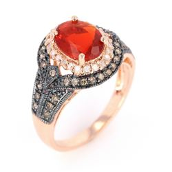 Fire Opal & Diamond 14K Rose Gold Ring