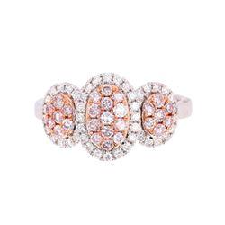 Fancy Pink & White Diamond 18K Gold Ring