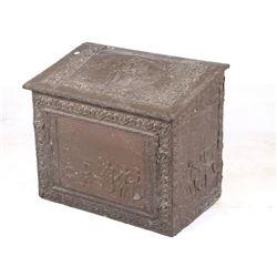 19th Century Copper Clad Embossed Coal Box