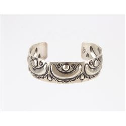 Navajo Allen Lee Repousse Sterling Silver Bracelet