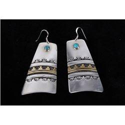 Navajo T&R Singer Turquoise & 14K Gold Earrings