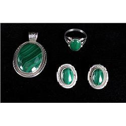 Navajo Sterling & Malachite Pendant, Earring, Ring