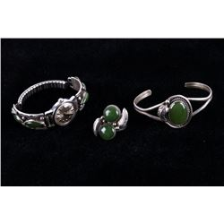 Navajo Jadeite & Silver Watch Ring & Bracelet