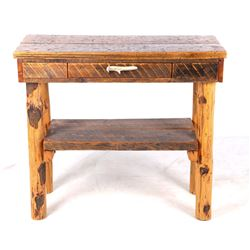 Montana Reclaimed Rough Sawn Table & Antler Pull