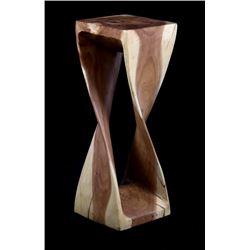 Mid-Century Modern Twist Carved Wood Pedestal