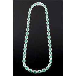 27.61ct Emerald & 7.73ct Diamond 14K Necklace