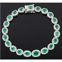 Luxury 7.79 ct Emerald & 2.42 Diamond 18K Bracelet