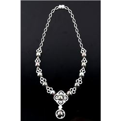 Scarce Black Tahitian Pearl 14K Diamond Necklace