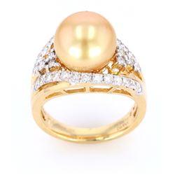 Golden South Sea Pearl 14K Diamond Ring
