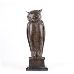 Bronze Owl Sculpture on Marble Base