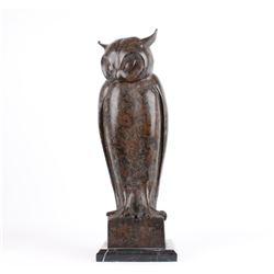 Bronze Owl Sculpture on Marble Base