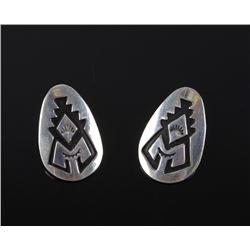 Navajo T&R Singer Sterling Silver Stamped Earrings