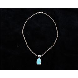 Navajo Signed Sterling & Turquoise Pendent & Chain