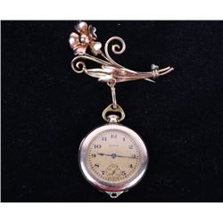 1918 Gold Elgin Watch Broach